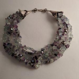 Vintage style multi-twist flourite necklace